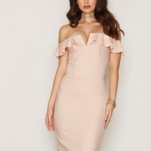 Miss Selfridge Ruffle Bandeau Midi Dress Kotelomekko Pink