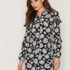 Miss Selfridge Ruffle Shirt Dress Pitkähihainen Mekko Black Flower