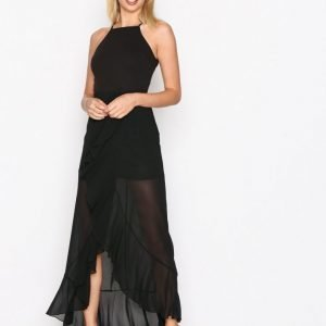 Missguided 90'S Neck Frill Maxi Dres Maksimekko Black