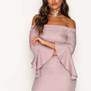 Missguided Bardot Ruffle Sleeve Shift Dress Loose Fit Mekko Pink