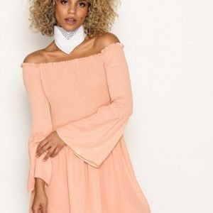 Missguided Bardot Swing Dress Skater Mekko Blush