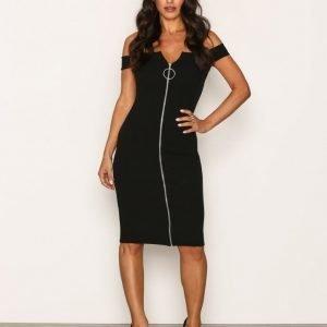 Missguided Bardot Zip Front Dress Juhlamekko Black