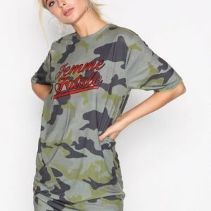 Missguided Camo Graphic T-Shirt Loose Fit Mekko Green
