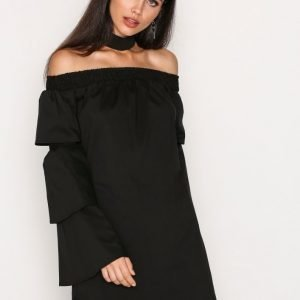 Missguided Choker Neck Paper Bag Dress Loose Fit Mekko Black