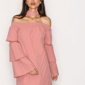 Missguided Choker Neck Paper Bag Dress Loose Fit Mekko Pink