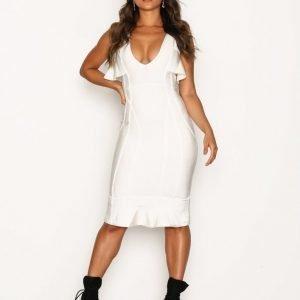 Missguided Cold Shoulder Frill Bandage Midi Dress Kotelomekko White