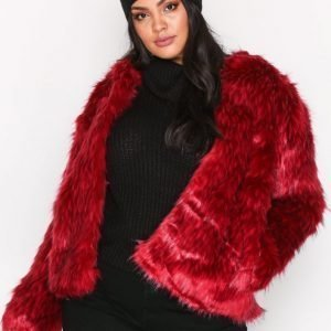 Missguided Collarless Faux Fur Coat Tekoturkki Red