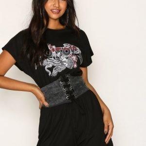 Missguided Corset Rock Playsuit Black