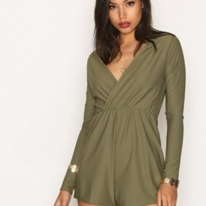 Missguided Crepe Wrap Playsuit Khaki