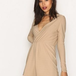 Missguided Crepe Wrap Playsuit Stone