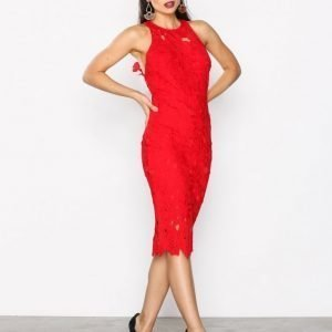Missguided Crochet Lace Midi Dress Kotelomekko Red