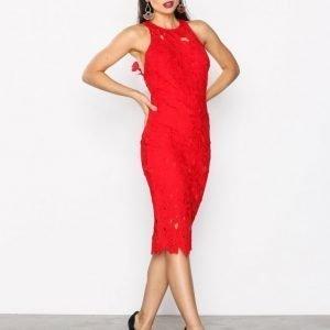 Missguided Crochet Lace Midi Dress Kotelomekko Red