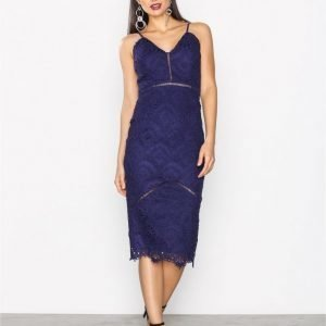 Missguided Crochet Ladder Detail Midi Dress Kotelomekko Navy