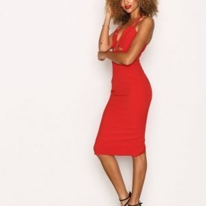 Missguided Cut Out Plunge Midi Dress Kotelomekko Red