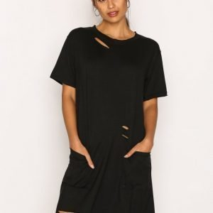 Missguided Distressed Pocket T Dress Mekko Black