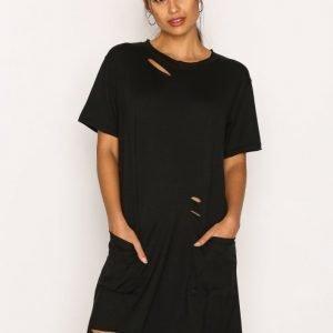 Missguided Distressed Pocket T Dress Mekko Black
