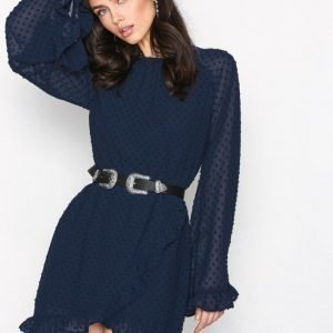 Missguided Dobby Mesh Skater Dress Kotelomekko Navy