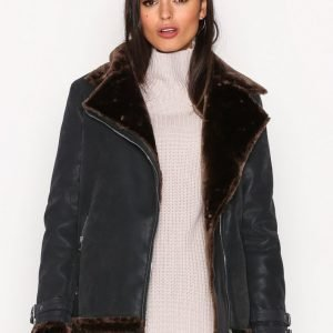 Missguided Faux Fur Lined Jacket Nahkatakki Black