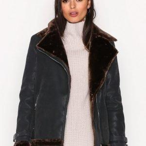 Missguided Faux Fur Lined Jacket Nahkatakki Black