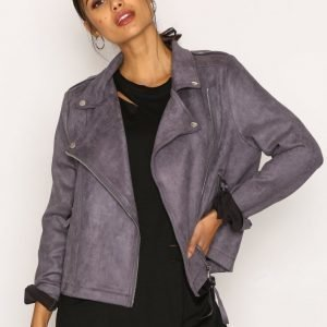 Missguided Faux Suede Biker Jacket Nahkatakki Charcoal