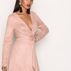 Missguided Faux Suede Twist Dress Skater Mekko Blush