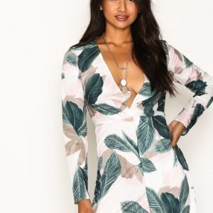 Missguided Floral Long Sleeve Knot Shift Dress Loose Fit Mekko Pink