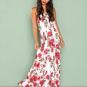 Missguided Floral Print Maxi Dress Loose Fit Mekko White