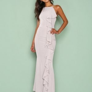 Missguided Frill 90'S Neck Maxi Dress Maksimekko Grey