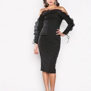 Missguided Frill Bardot Midi Dress Kotelomekko Black