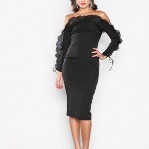 Missguided Frill Bardot Midi Dress Kotelomekko Black