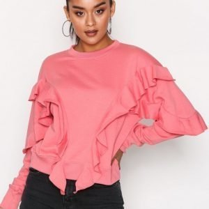 Missguided Frill Detail Sweat Svetari Pink