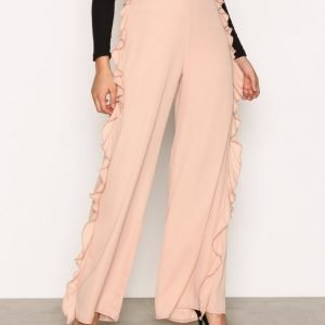 Missguided Frill Side Wide Trousers Housut Beige