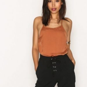 Missguided Hammered Satin Bodysuit Body Rust