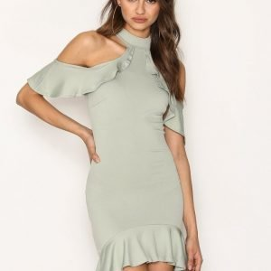 Missguided High Neck Cold Shoulder Midi Dress Kotelomekko Green