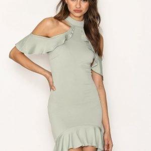 Missguided High Neck Cold Shoulder Midi Dress Kotelomekko Green