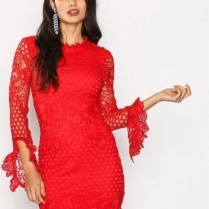 Missguided High Neck Crochet Dress Kotelomekko Red
