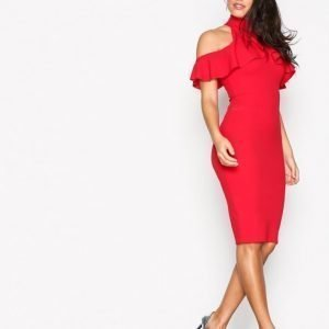 Missguided High Neck Frill Cold Shoulder Midi Dress Kotelomekko Red
