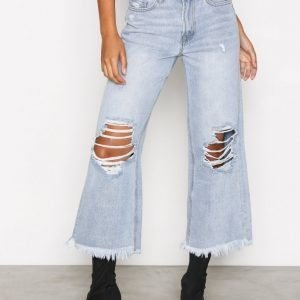 Missguided High Rise Wide Leg Jeans Loose Fit Farkut Blue
