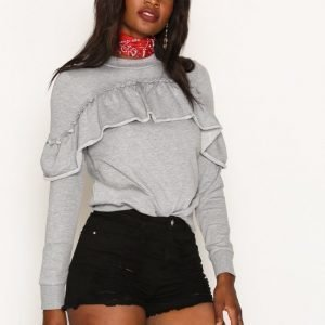 Missguided High Waisted Shredded Denim Shorts Shortsit Black