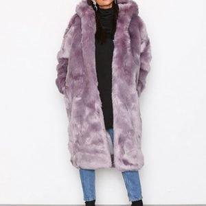Missguided Hooded Fur Maxi Coat Tekoturkki Lilac