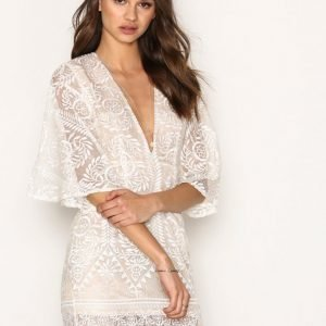 Missguided Kimono Flared Sleeve Lace Bodycon Dress Kotelomekko Champagne