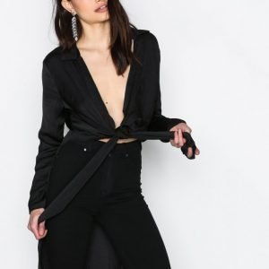 Missguided Knotted Front Blouse Juhlapaita Black