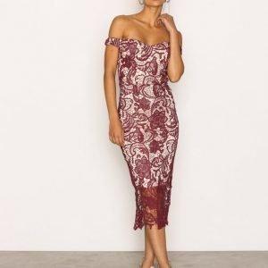 Missguided Lace Bardot Midi Dress Kotelomekko Burgundy