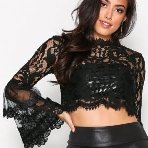 Missguided Lace Flare Sleeve Blouse Juhlapaita Black