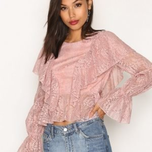 Missguided Lace Frill Front Blouse Juhlapaita Pink