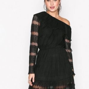 Missguided Lace One Shoulder Dress Skater Mekko Black