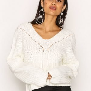 Missguided Lace Up Knitted Jumper Neulepusero Ivory