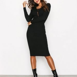 Missguided Lace Up Knitted Midi Dres Kotelomekko Black