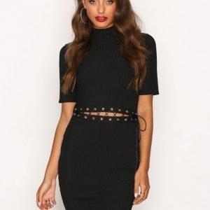 Missguided Lace Up Middle Mini Dress Kotelomekko Black