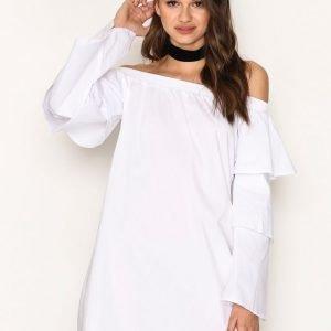 Missguided Layer Sleeve Bardor Dress Loose Fit Mekko White